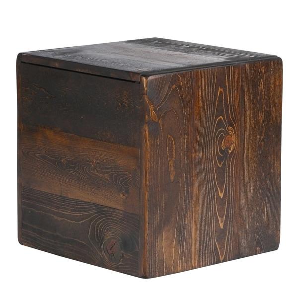 Shop Rustic Walnut Storage Cube Ottoman Side Table Usa