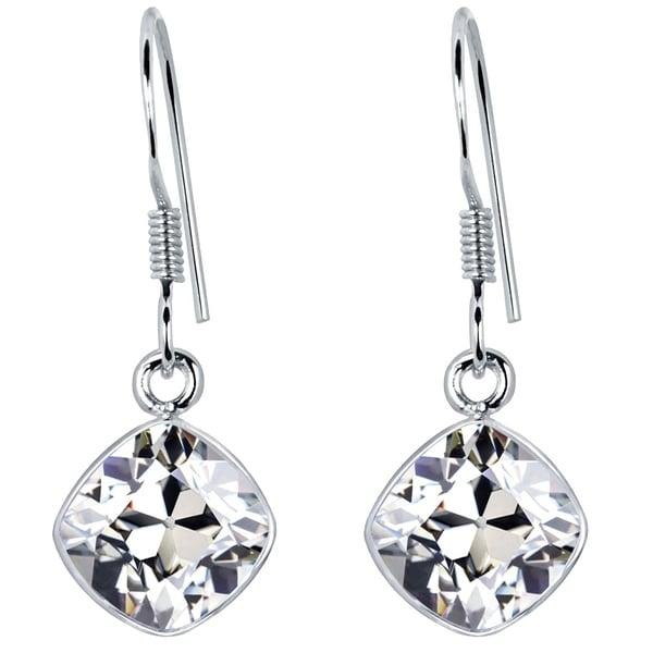 e05716913 925 Sterling Silver Dangle Earrings 2.27 Carat Created White Sapphire  Gemstone
