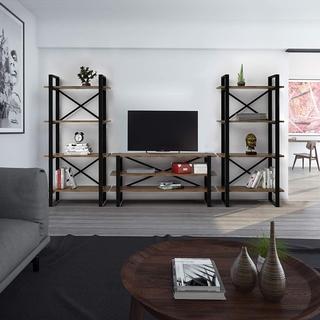 Decorotika Artistico Brown/Black Solid Wood 3-piece Entertainment Center