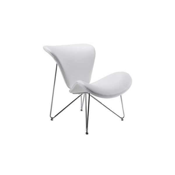 HomeRoots Furniture Contemporary White Upholstered Leatherette Accent Chair