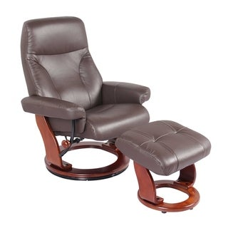 HomeRoots Furniture Kona Brown Swivel Recliner Chair and Ottoman