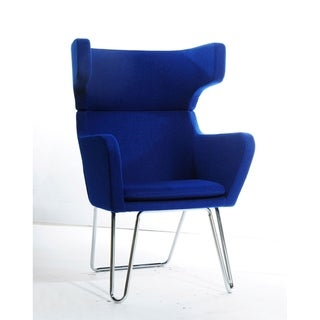 HomeRoots Furniture Modern Upholstered Royal Blue Fabric Lounge Chair with Stainless Steel Legs
