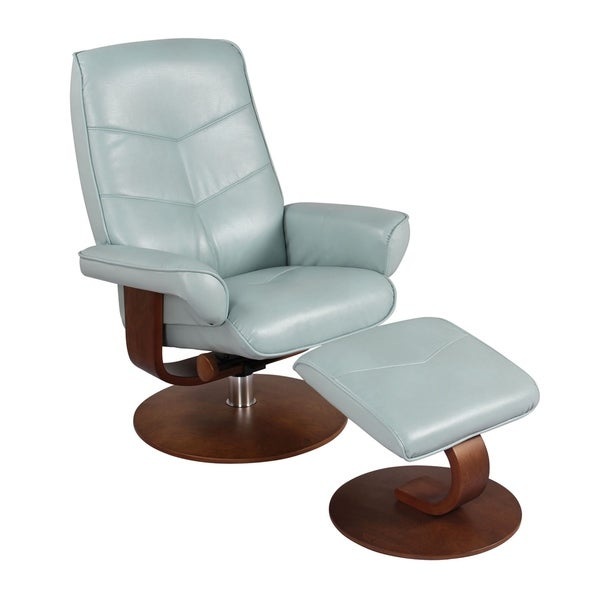 HomeRoots Furniture Swivel Recliner Chair and Ottoman - Pastel Blue