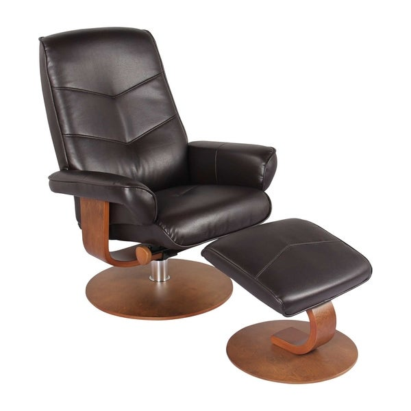 HomeRoots Furniture Swivel Recliner Chair and Ottoman - Java