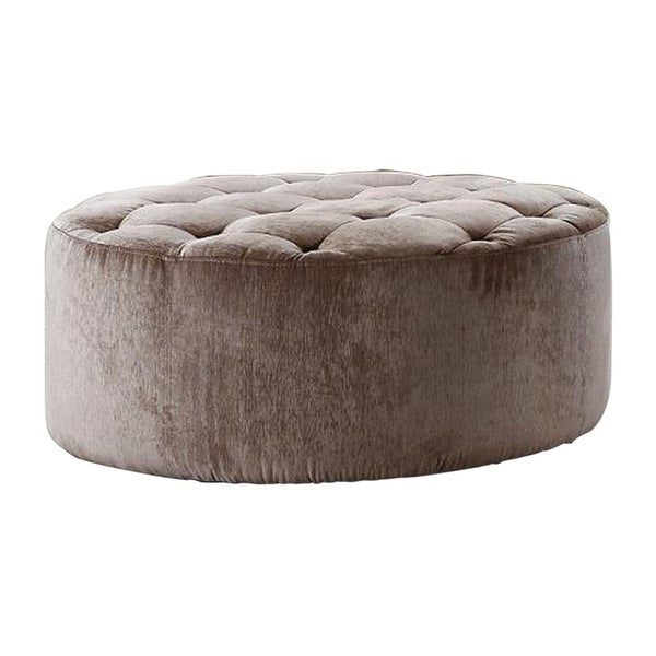 HomeRoots Furniture Casa Cosmopolitan Tufted Polyester Fabric Ottoman with Artificial Crystals