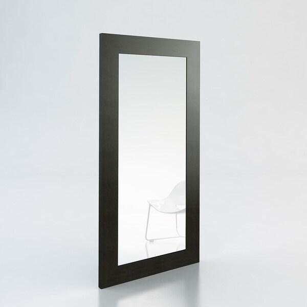 HomeRoots Furniture Modern Wenge Veneer Frame Bedroom Floor Mirror - Black