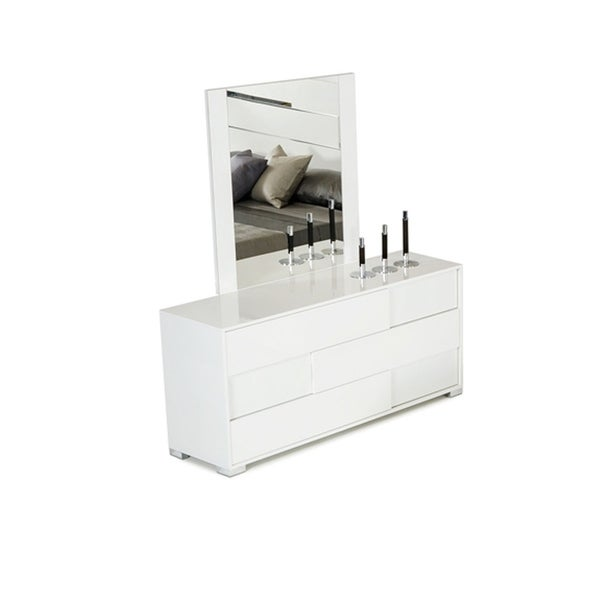 HomeRoots Furniture Italian Modern Decorative Mirror in High Gloss and Crocodile Textured Finish - White