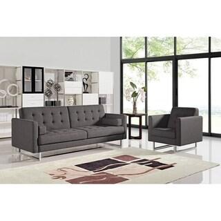 Divani Casa Bauxite Modern Grey Fabric Sofa Bed