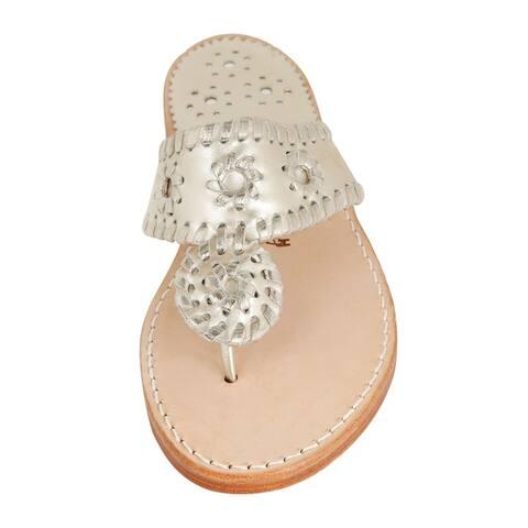 Palm Beach Handcrafted Classic Leather Sandals - Platinum/Platinum, Size 9.5