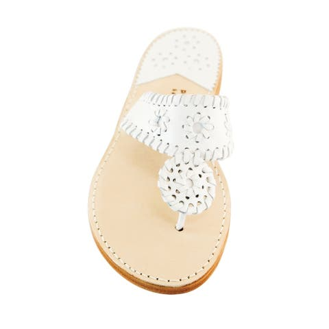 Palm Beach Handcrafted Classic Leather Sandals - White/White, Size 7.5
