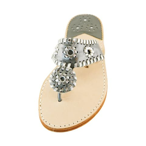 Palm Beach Handcrafted Classic Leather Sandals - Gunmetal /Silver, Size 9