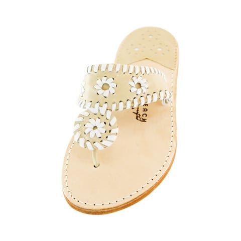 Palm Beach Handcrafted Classic Leather Sandals - Chanel/White, Size 6.5
