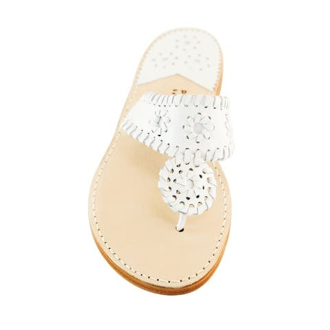 Palm Beach Handcrafted Classic Leather Sandals - White/White Size 10