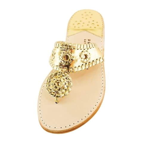 Palm Beach Handcrafted Classic Leather Sandals - Gold/Gold, Size 10