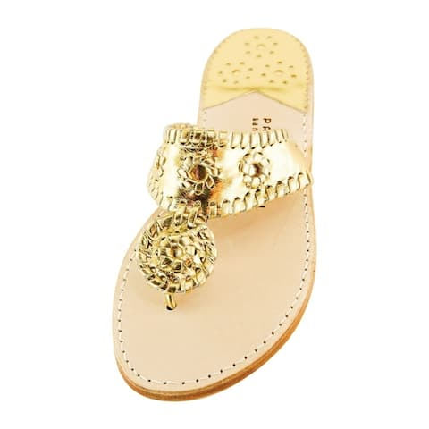 Palm Beach Handcrafted Classic Leather Sandals - Gold/Gold Size 7.5
