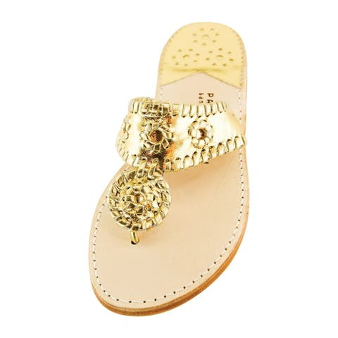 Palm Beach Handcrafted Classic Leather Sandals - Gold/Gold, Size 7