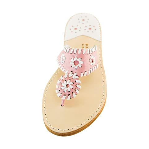 Palm Beach Handcrafted Classic Leather Sandals - Pink/White Size 10