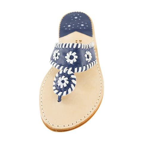 Palm Beach Handcrafted Classic Leather Sandals - Navy/White, Size 7