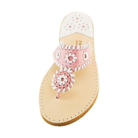 Palm Beach Handcrafted Classic Leather Sandals - Pink/White, Size 5.5