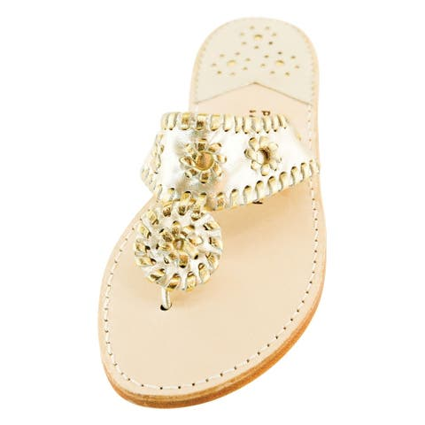 Palm Beach Handcrafted Classic Leather Sandals - Platinum/Gold, Size 8