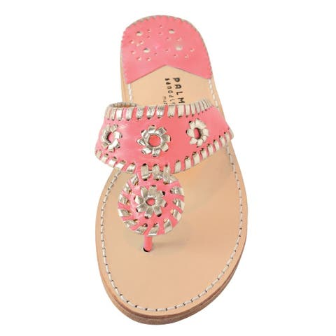 Palm Beach Handcrafted Classic Leather Sandals - Melon/Pale Gold, Size 10