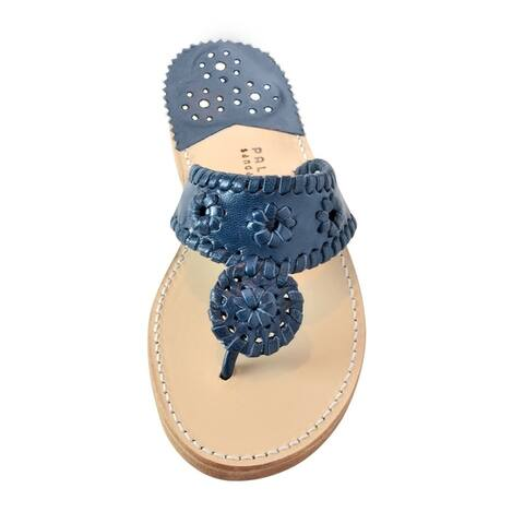 Palm Beach Handcrafted Classic Leather Sandals - Navy/Navy Size 8