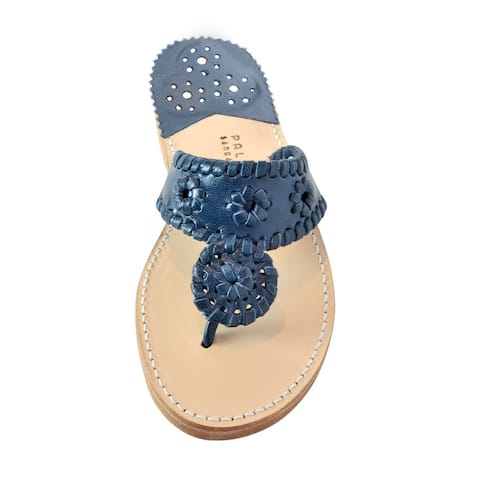 Palm Beach Handcrafted Classic Leather Sandals - Navy/Navy, Size 6.5