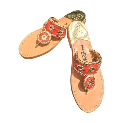 Palm Beach Handcrafted Classic Leather Sandals - Coral/Gold, Size 5.5
