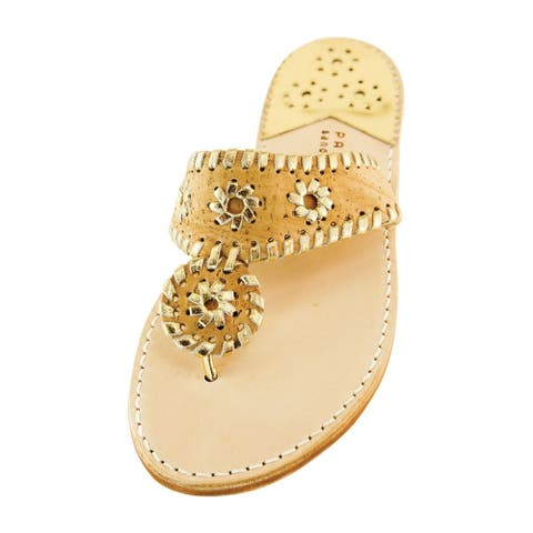 Palm Beach Handcrafted Classic Leather Sandals - Cork/Gold, Size 6.5