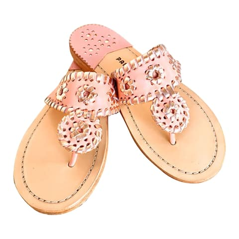 Palm Beach Handcrafted Classic Leather Sandals - Blush/Rose Gold, Size 5.5