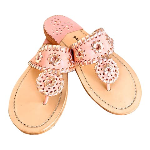 Palm Beach Handcrafted Classic Leather Sandals - Blush/Rose Gold, Size 7.5