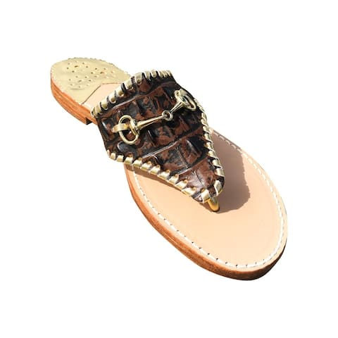 Palm Beach Wellington Handcrafted Leather Sandals - Choc Croc/Gold, Size 5.5