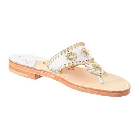 Palm Beach Handcrafted Classic Leather Sandals - White/Gold, Size 5.5