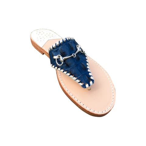 Palm Beach Wellington Handcrafted Leather Sandals - Navy Croc/Platinum, Size 7