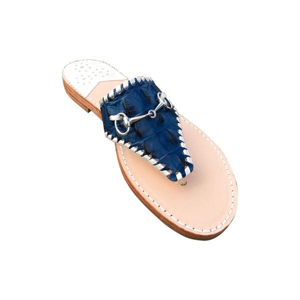 e14278db91df3f Shop Palm Beach Wellington Handcrafted Leather Sandals - Navy Croc Platinum
