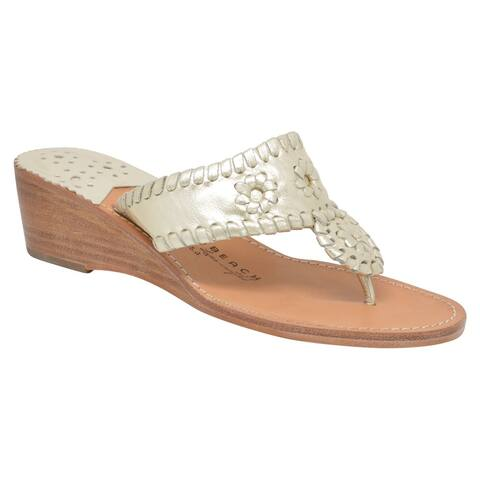 Palm Beach Handcrafted Classic Mid Wedge Leather Sandals - Platinum/Platinum, Size 9.5
