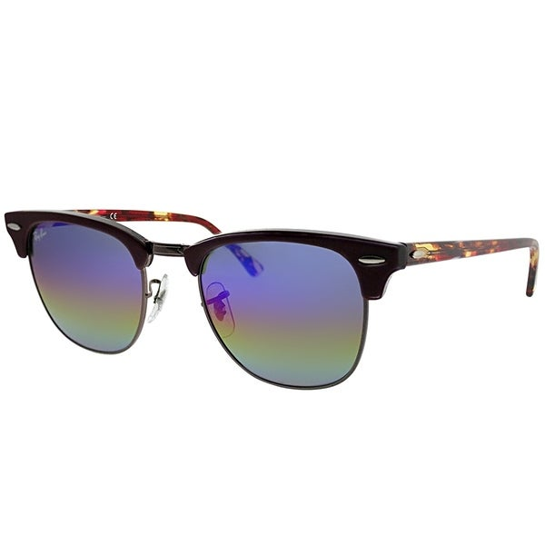 605bbdad3d Ray-Ban Clubmaster RB 3016 Clubmaster 1222C2 Unisex Violet Frame Blue Rainbow  Flash Lens Sunglasses