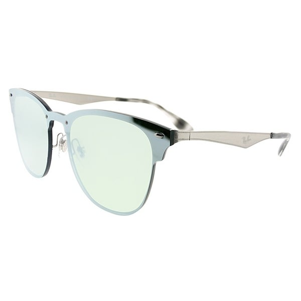 47afc743fb588 Ray-Ban Clubmaster RB 3576N Blaze Clubmaster 042 30 Unisex Brushed Silver  Frame Green