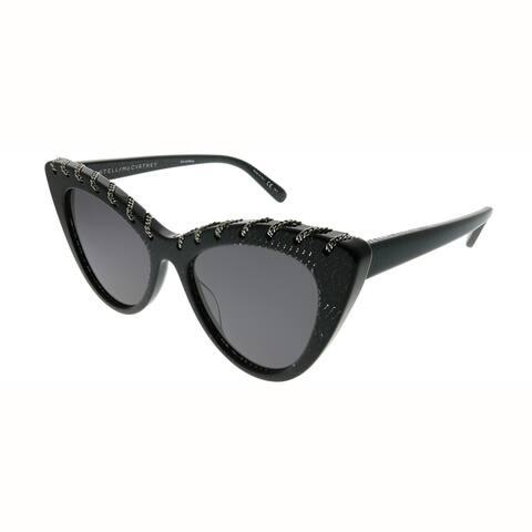 Stella McCartney Cat-Eye SC 0163S Falabella 003 Women Black Glittered Frame Grey Lens Sunglasses
