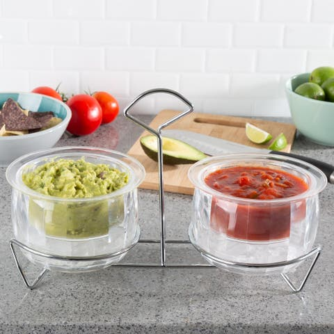 Cold Dip Bowls-2 Chilled Serving Containers with Ice Chambers and Carrier Stand-For Dip, Salsa and More by Classic Cuisine