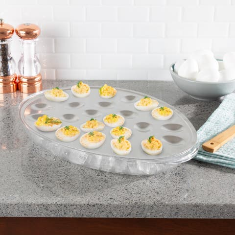 Cold Deviled Egg Tray-Chilled Platter with Ice Compartment-Egg, Fruit, Veggie Holder Serving Dish for Events by Classic Cuisine