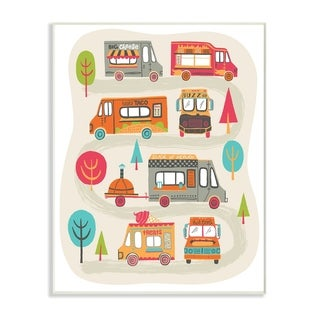 The Kids Room By Stupell Mod Quirky Food Trucks And Trees Wood Wall Art, 10x15, Proudly Made in USA - Multi-color