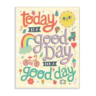The Kids Room By Stupell Outdoor Sun and RainbowToday Is A Good Day  Wood Wall Art, 10 x 15, Proudly Made in USA - Multi-color