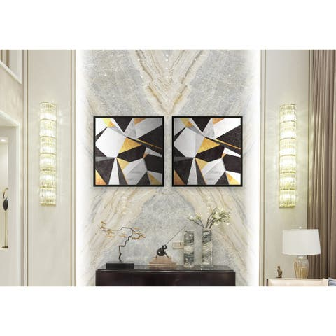 Chic Home Geo France 2 Piece Set Framed Wall Art Giclee Print - Multi-color