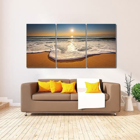 Chic Home Sunset 3 Piece Set Wrapped Canvas Wall Art Giclee Print - Multi-color