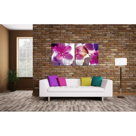 Chic Home Orchid 2 Piece Set Wrapped Canvas Wall Art Giclee Print - Multi-color