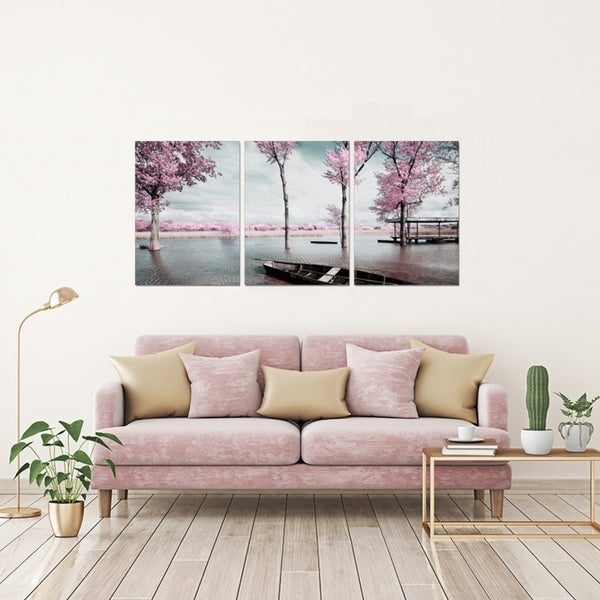 Shop Chic Home Blossom 3 Piece Set Wrapped Canvas Wall Art ...