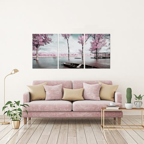 Chic Home Blossom 3 Piece Set Wrapped Canvas Wall Art Giclee Print - Multi-color