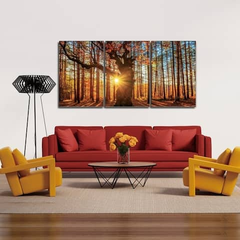 Chic Home Botanical Forest 3 Piece Set Wrapped Canvas Wall Art - Multi-color