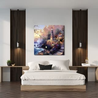 Chic Home Light House 1 Piece Wrapped Canvas Wall Art Giclee Print - Multi-color - 24 x 24
